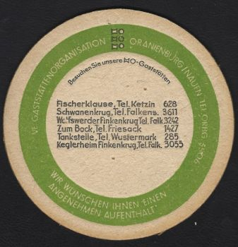 VE Bierdeckel Oranienburg / Nauen