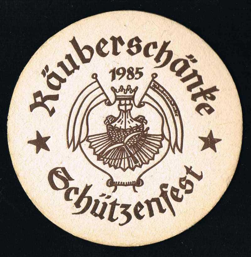 1a-Sammlerartikel - Bierdeckel vom Schützenfest in der Räuberschänke